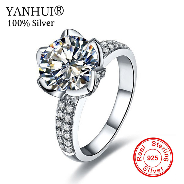 Real Solid 925 Sterling Silver Wedding Rings For Women Romantic ...