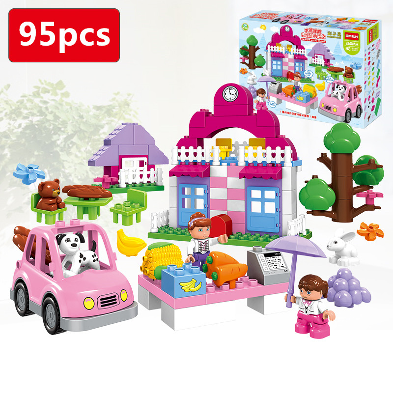 95pcs Happy Town Big Building Blocks Set Compatible with Legoed Duploes Educational Toys DIY Baby Toys Girls Gift 95pcs happy town building blocks diy early learning baby girls toys self locking bricks educational toys compatible with duplo