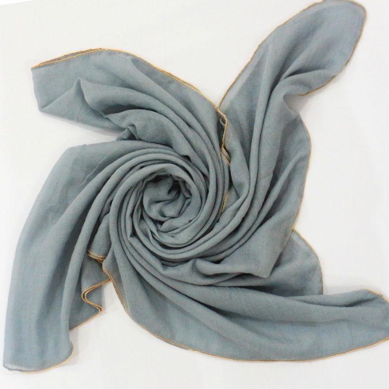 Plain Plain Beige Pearl Chain Trim Maxi Hijab Scarves Headscarf