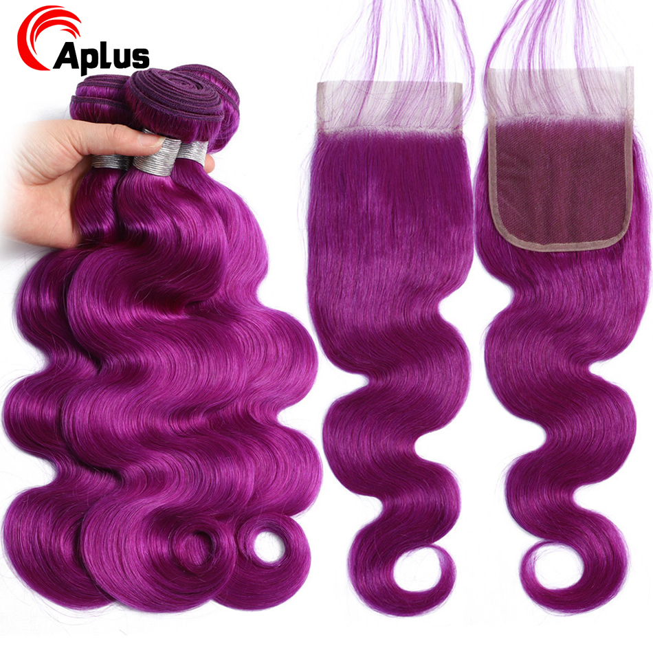 Purple Color Human Hair Pre Colore Bundles With Closure With Baby Hair Body Wave Purple Closure With Peruvian Remy Hair Bundles