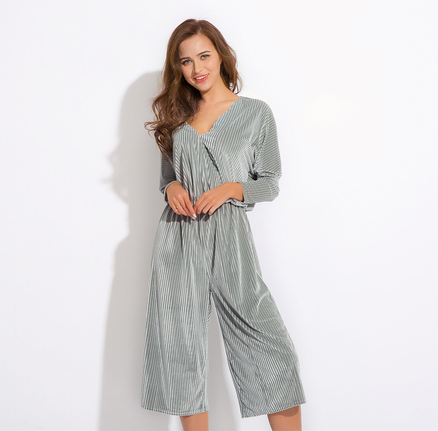 a0774a4f8a72b 2019 Avodovama M Women Long Sleeve Sexy Elegant Solid V Neck Loose Casual  Office Ladies Hot Sale Jumpsuit From Cutelove66, &Price; | DHgate.Com