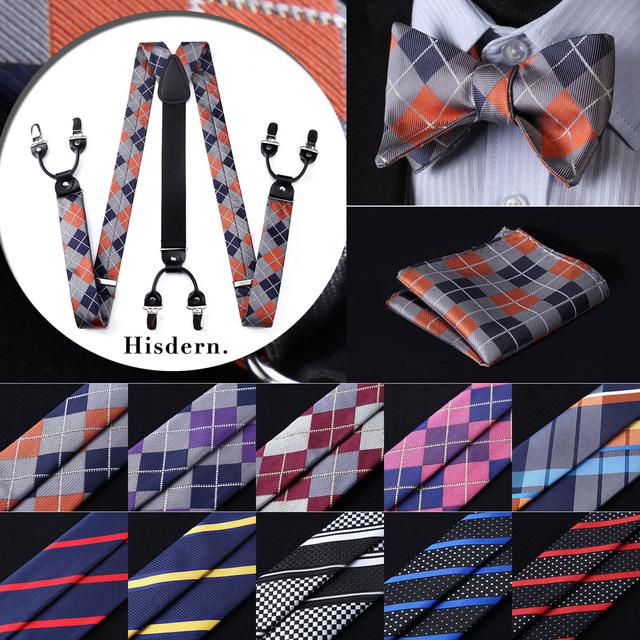 Floral Paisley Various Classic Braces 6 Clips Suspenders Self Bowtie and Pocket Square Set #S5