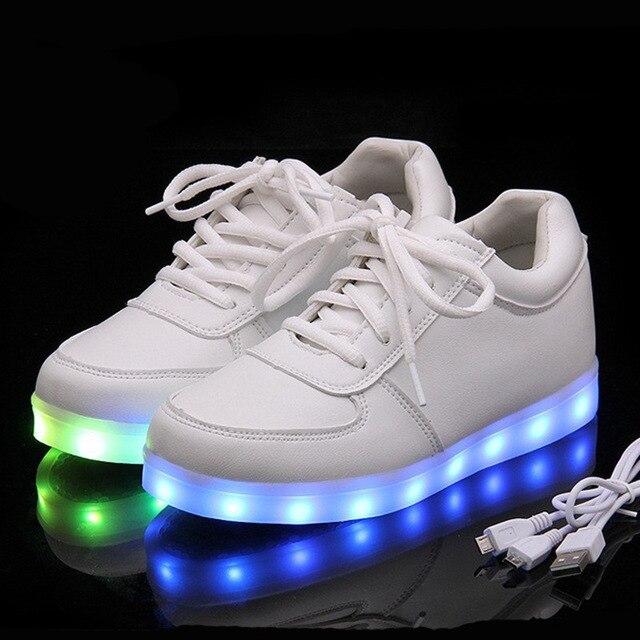 Зарядное Устройство USB Освещенные shoes для Мальчика & Девушки светящиеся кроссовки Загораются тренеры Малыш Повседневная Световой Кроссовки светодиодные тапочки девушка shoes