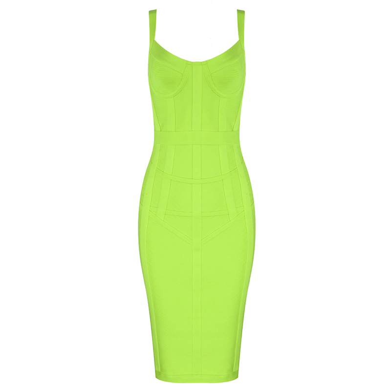Free Shipping Plus Size XL Sexy Sleeveless V Neck GreenYellow Bandage Dress 2020 Designer Fashion Party Dress Vestido 4