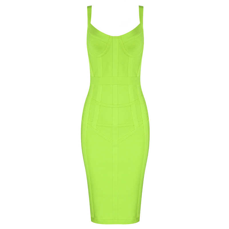 Gratis Verzending Plus Size XL XXL Sexy Mouwloze V-hals GreenYellow Bandage Jurk 2019 Designer Fashion Party Jurk Vestido