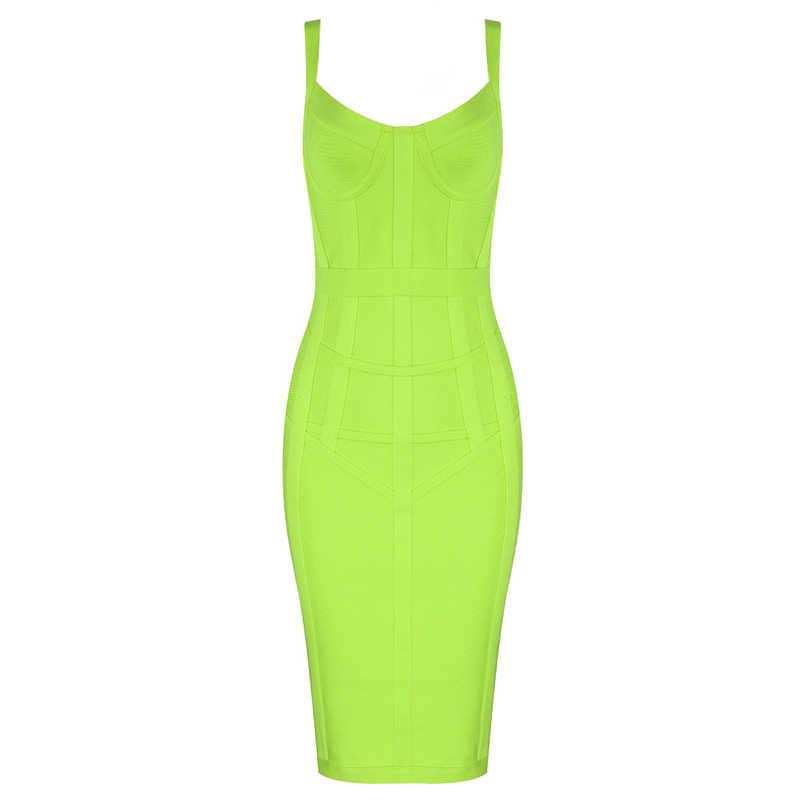 Бесплатная доставка плюс размер XL XXL сексуальное без рукавов с v-образным вырезом зеленое желтое Бандажное платье 2019 дизайнерское модное вечернее платье Vestido