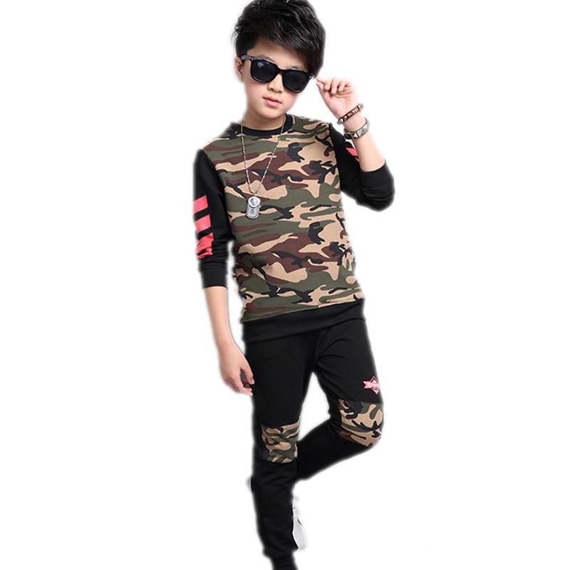 big boy clothes sets 2017 new spring autumn kids clothes Camouflage hoodies&sweatshirt+pants boys tracksuits kids sports suits