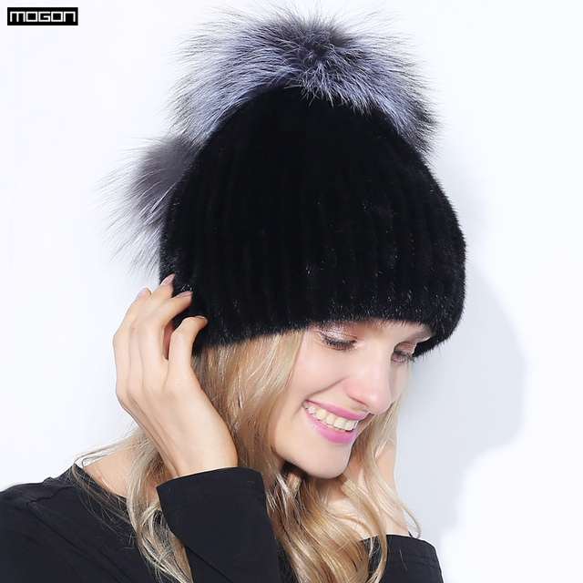 Women Hot Sale Rushed Adult Solid New Fur Pom Poms Hats For Winter Genuine Mink Cap Luxury Natural Hair With 2016 Sale