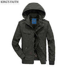 King's Faith Winter Hood Wool Thick Jackets Men Casual Warm Coats Brand Parka Cotton Outwear Fashion Fit Snow Cold PLQ8610