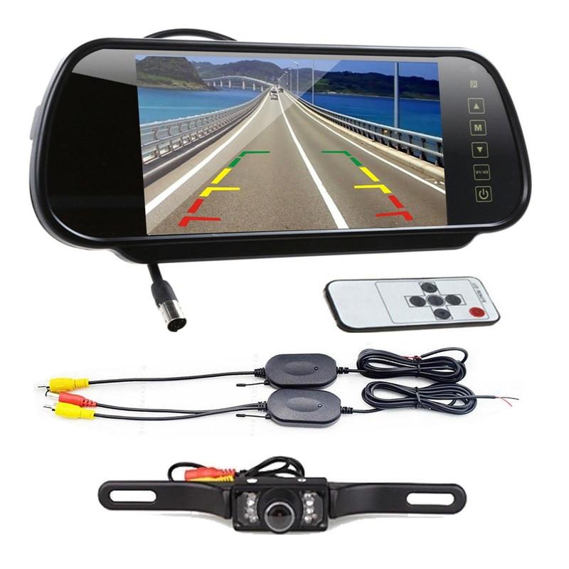 Di alta Qualità 7 LCD Screen Car Rear View Backup Monitor Dello Specchio + Wireless Reverse Kit Telecamera A INFRAROSSI