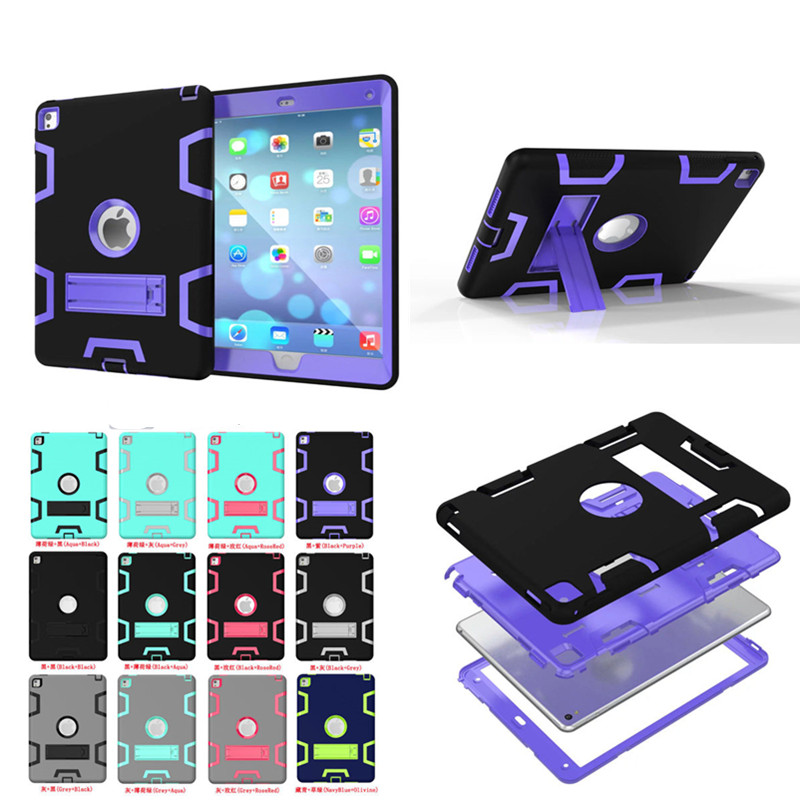 WES Hybrid Armor Rubber Hard Plastic + Silicone Shockproof Heavy Duty With Stand Back Case Cover For iPad Air 2 Air2 Ipad6