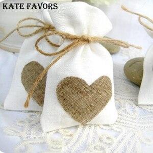 Image 2 - 10 × 14 センチメートル白リネン巾着バッグヴィンテージナチュラル黄麻布ギフトキャンディー結婚式のキャンディーバッグジュートギフトジュエリーポーチ