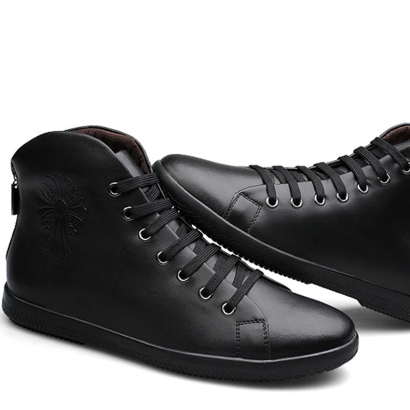 Male winter boots High-Cut Lace-up Warm Men Casual Shoes Fashion high quality big size genuine leather comfortable warm shoeswx5