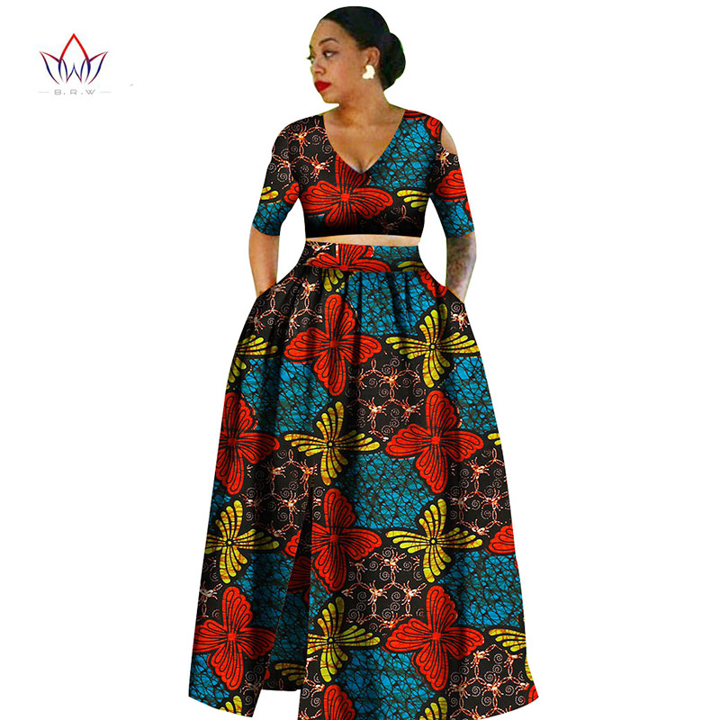 Women african Tradition 2 Piece Plus Size Africa Clothing Fashion Designs Dashiki  african wax prints for be3d4252c04c