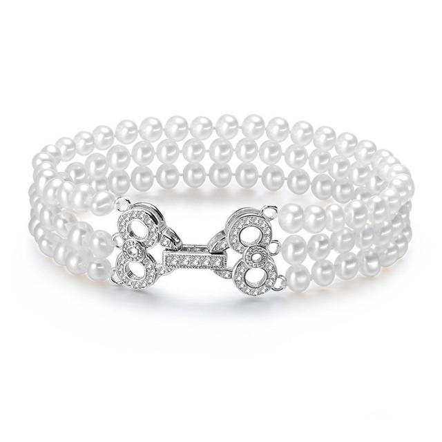 925 fecho de prata esterlina pulseira de pérolas naturais de água doce genuine pearl contas com frete grátis