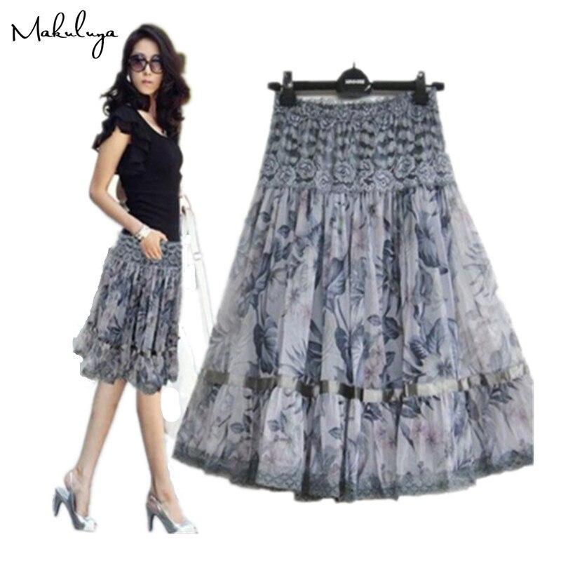 Makuluya Vintage Casual Pleated 2021 Better Lace Skirts Grace Fashion Women Large Size Print Bohemia Medium Beautiful Lady L