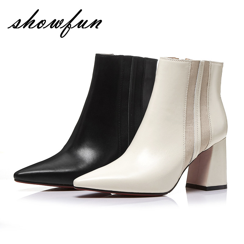 Women's Genuine Leather Thick High Heel Pointed Toe Autumn Ankle Boots Brand Designer High Quality Comfort Short Booties Shoes elegant beige high heel 2017 booties autumn chunky metal genuine leather luxury brand shoes women boots short ankle pointed toe
