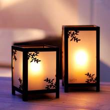 PINNY Chinese Retro Iron Glass Candles Stand Home Decoration Accessories Metal Printing Candle Holder Vintage Lantern