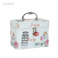 цена на Women Large Capacity Professional Makeup Organizer Fashion Toiletry Cosmetic Bag Multilayer Storage Box Portable Flower Suitcase