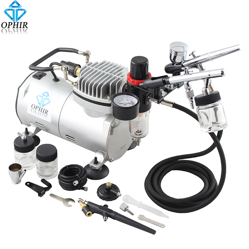 цена на OPHIR 0.3mm 0.35mm 0.8mm 3 Airbrush Gun with Air Compressor for Model Hobby Body Paint Tattoo Cake Decoration_AC089+004A+071+072