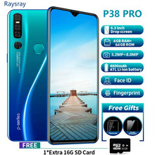 Raysray P38 4G CellPhone 4G RAM+64GB ROM 4800mAh Mobile Phone android 8MP+3.2MP cellphone Dual SIM Cards Face Recognition new