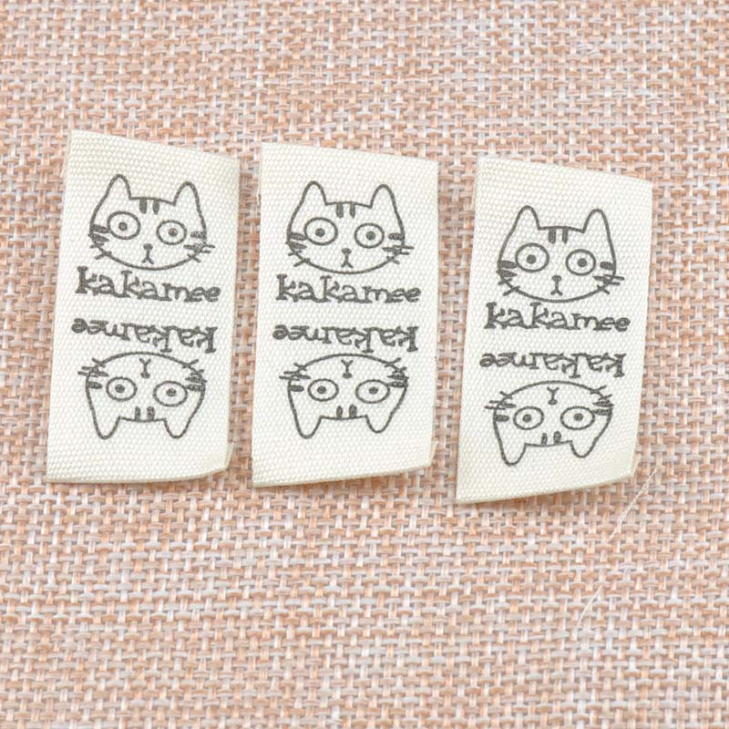 50pcs Beige Woven Labels For Clothing Care Labels Cat Woven Labels Clothing Shoes Bags Washable Garment Tags CP1538