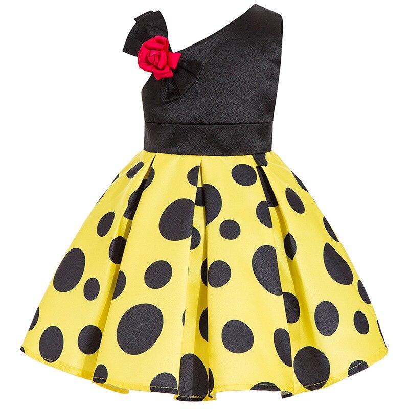 b901b3eec4d Детское платье с цветочным узором для девочек в горошек
