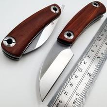 JSSQ Pocket Folding Knife D2 Blade Wood Handle Mini EDC Razor Outdoor Camping Survival Tactical Knives Utility Hunting Tool