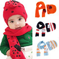 Baby Boys Girls Winter Warm Hat Scarf Set Cute Knitted Cotton Cap Hats