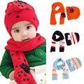 Bebê Das Meninas Dos Meninos Inverno Quente Cachecol Chapéu Conjunto de Malha de Algodão Bonito Tampão Chapéus