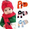 Niños bebés Niñas Invierno Cálido Sombrero Bufanda Set Lindo Gorro de Algodón de Punto Sombreros