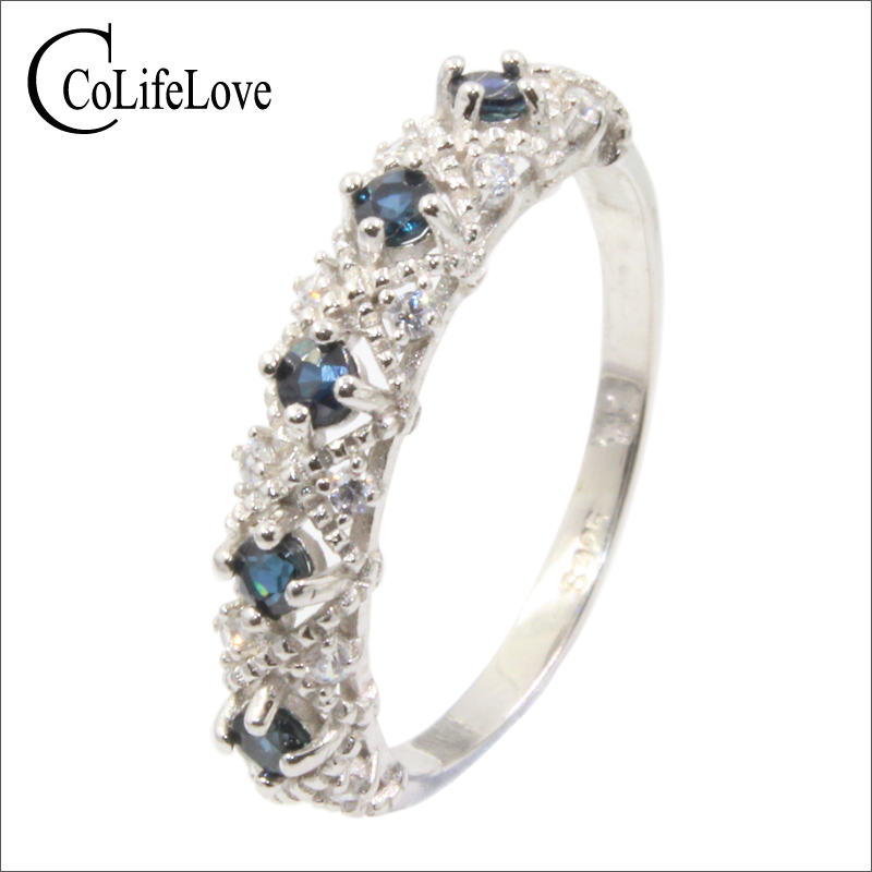 все цены на Baroque style sapphire ring for engagement 5 pcs natural navy blue sapphire silver ring 925 sterling silver sapphire jewelry онлайн
