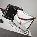 2016 Brand designer Fashion Woman Michael Messenger Bag Ladies Quality PU Leather Handbag stripe ribbon chain shoulder women bag