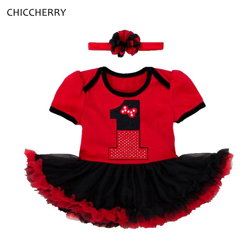 Red Crown Baby Girl Clothes Princess 1 Year Birthday Dresses Infant Lace Tutu Headband Set Party Vestido Bebe Toddler Outfits