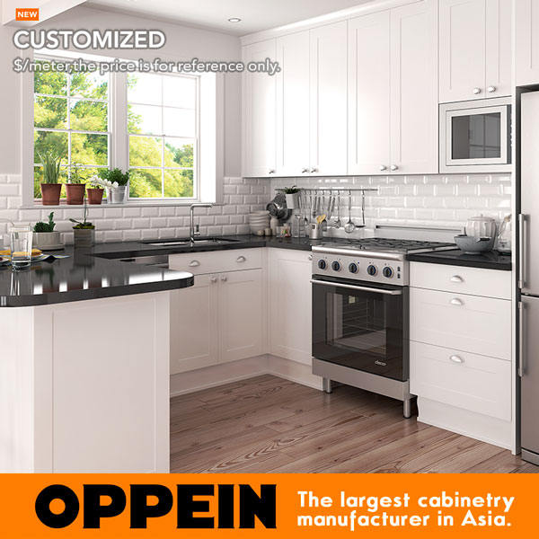 Oppein American Style White Wood Shaker Cabinets Small U Shaped Pvc Kitchen Cabinet Op17