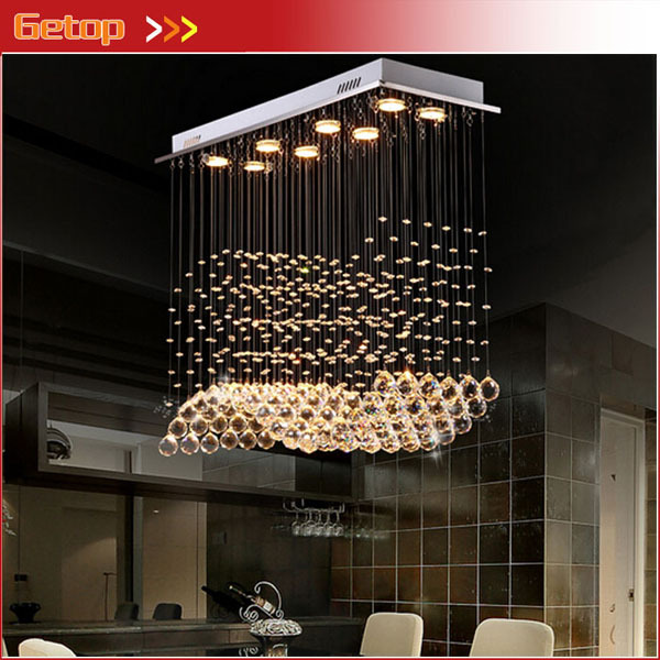 Best Price Modern Restaurant Rectangular Chandeliers K9 Crystal Lamp LED Wave Crystal Light Bar Restaurant Living Room Lights  kzj 108p k9 rectangular prism