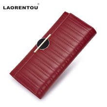 LAORENTOU Luxury Women Purse Cowhide Leather Wallets For Women Brand Design Casual Clutch Bags Card Holder