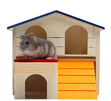 Hamster House Durable Odorless Non-Toxic Deluxe Two Layers Wooden Hut For Hamster Toys