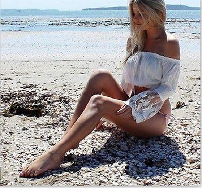 Mujeres de encaje fuera del hombro Tops cubierta de ganchillo de una pieza traje de baño Bikini playa cubrir túnica de manga larga ropa blanco 2019 nuevo verano Mujer Bikini cubrir Floral encaje crochet hueco traje de baño cubrir-Ups traje de baño playa túnica Vestido de playa caliente
