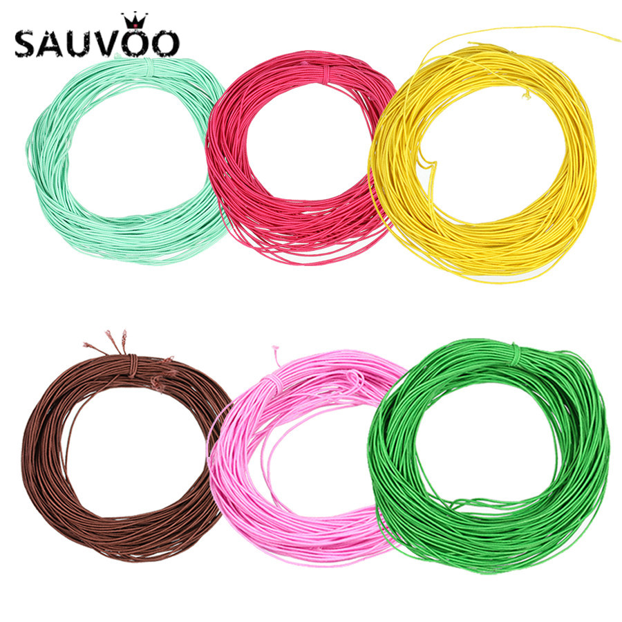 SAUVOO 45yard/Roll <font><b>15</b></font> Colors Black Brown Stretch Elastic Ropes <font><b>Thread</b></font> Cords Wide 1mm Fit DIY <font><b>Beading</b></font> Jewelry Making Accessories image