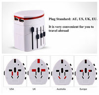Convinien All In One Universal International Plug Adapter 2 USB Port World Travel AC Power Charger