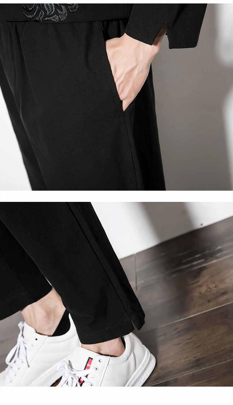 男性 2 ピースセット (tシャツ + パンツ) 中国風の刺繍 Tシャツカジュアル長袖 Tシャツ男性カンフー服プラスサイズ M-5XL