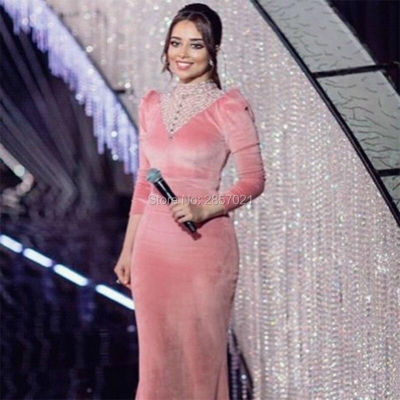 Terciopelo rosa Árabe Vestidos de Noche Con Cuentas de Alta Escote ...