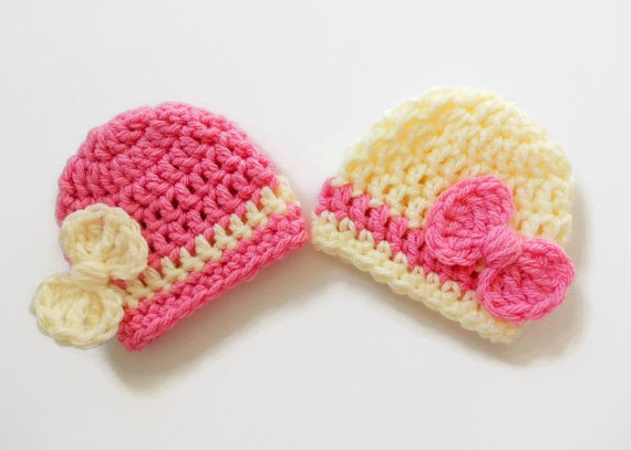 Újszülött lány sapka - Baby Girl Beanie - Bow Pink Hat - Baby - Bébi ruházat - Fénykép 1