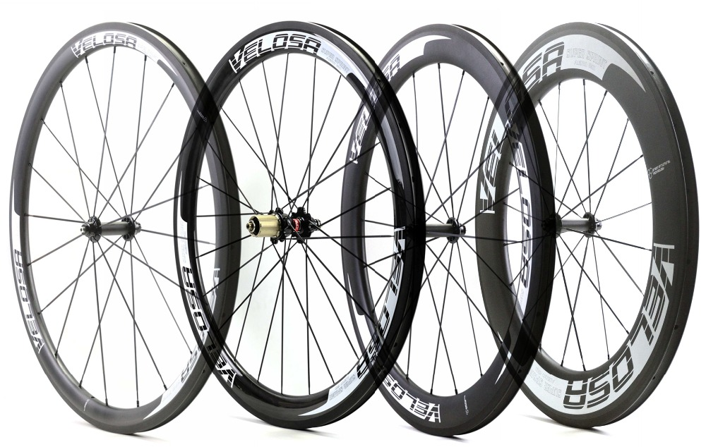VELOSA! 700C 38/50/60/88mm depth Road carbon wheels 25mm width Clincher bicycle carbon wheelset with Powerway R51 hub 1420 spoke carbon wheels 700c 25mm width 38mm clincher racing bicycle wheels road bike carbon wheelset clincher with powerway r51 hub