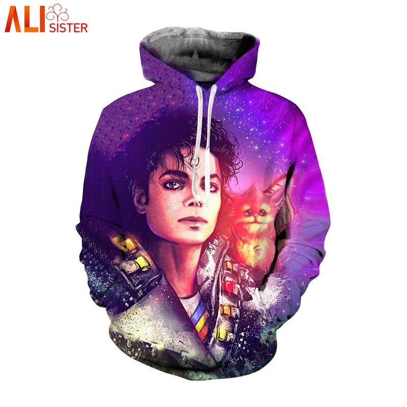 Alisister Michael Jackson Hoodies Sweat Veste Hommes Femmes Manches Longues Pulls Drôle 3d Imprimer Survêtement Plus La Taille Dropship