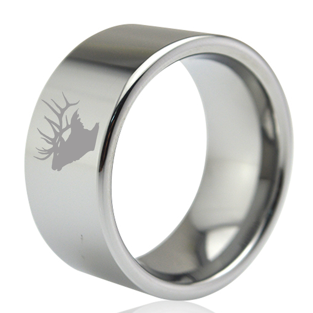 11mm Wide Male Silver Flat Tungsten Carbide Thumb Finger Ring with Deer Head Hunting Engraved Outside Size 7 to 13 faux ruby engraved fret finger ring
