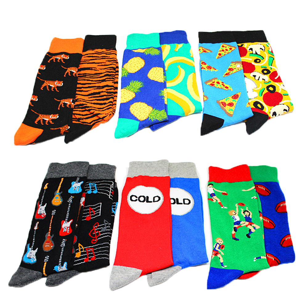 Colorful Men's Happy Funny Cartoon Animal Fruit   Socks   Fashion Print Pineapple Banana Tiger Cotton Breathable Hip Hop Dress   Socks