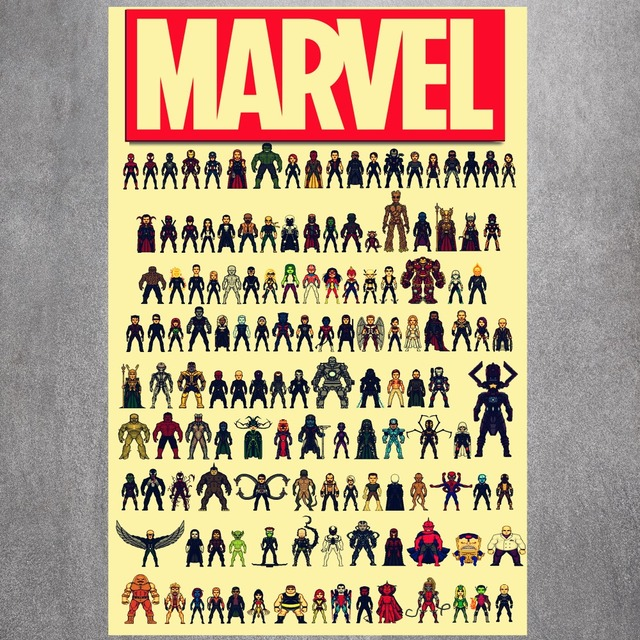 Marvel Heroes Hot Sale Vintage Retro Art Painting Canvas Poster Wall ...