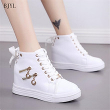 BJYL 2019 Women Wedge Platform Rubber Leather Lace Up High heel 6 cm Shoes Round Toe Increasing White Sneakers Zipper B63 high colors women s lace up creepers oxford high heel pearl platform shoes white round toe flock patchwork wedge platform heels